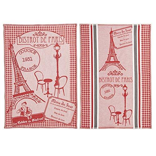 Coucke - Bistrot de Paris - Lot de 2 Torchons et Carré Éponge Coton Rouge 50 x 75 cm