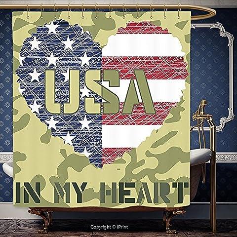 Iprint 182,9x 182,9cm Rideau de douche National en forme de cœur Drapeau américain style militaire et Grunge Illustration Art Vert sauge et Kaki 10656Polyester Accessoires de salle de bain Décoration de la Maison, Polyester, Multy, 72W x 72H Inch