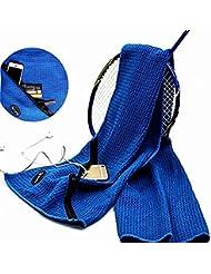 Microfibra Gimnasio toalla con bolsillo con cremallera Super absorbente toalla de deportes de Yoga para las llaves o el móvil–110x 30cm- ligero compacto toallas para Camping Viajar Fitness Crossfit pliates entrenamiento, azul