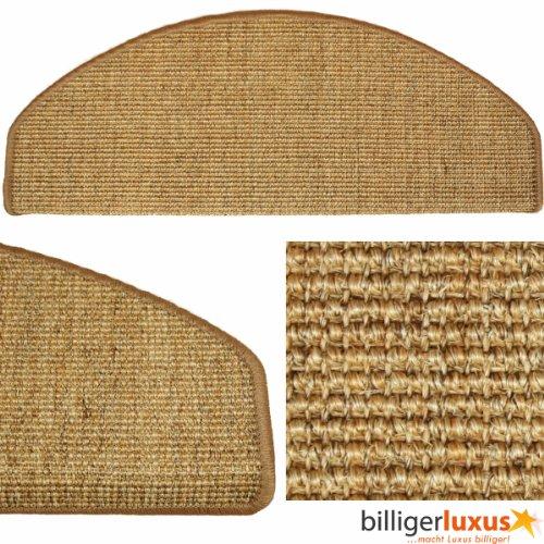 Sisal Sand (Stufenmatten Sisal Treppenstufen Sisal in 2 Größen & 12 Farben, Größe:18x56 cm;Farbe:sand-dunkelbeige)