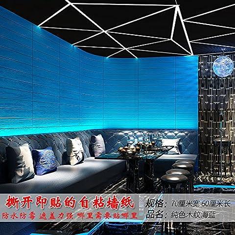 Jedfild Tapete Selbstklebende stereoskopischen 3D-kreative Wand Schlafzimmer Wand Dekoration Aufkleber PVC wasserdicht Viertel renoviert, Tapeten, Farbe Holz-grain Meer blau 70*60 cm, (Punkt 100 Grain)