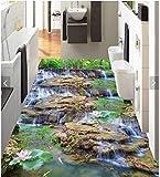 Malilove 3D-Pvc Bodenbeläge Schlafzimmer Custom Photo Wasserdichter Boden Aufkleber Wasserfall Lotus Karpfen Dekoration Malerei Wallpaper Für Wände 3D200X140CM