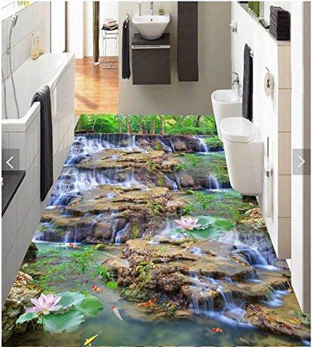 Malilove 3D-Pvc Bodenbeläge Schlafzimmer Custom Photo Wasserdichter Boden Aufkleber Wasserfall Lotus Karpfen Dekoration Malerei Wallpaper Für Wände 3D200X140CM (Malerei Ziegel)