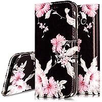 Ukayfe – Funda protectora en piel sintética con estampado de flores y tapa para Galaxy A5 2017, con protector de silicona antigolpes, soporte y ranuras para tarjetas de crédito