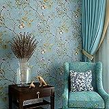 Blooming Wand Vintage Flower Bäume Vögel Tapete für Wohnzimmer Schlafzimmer Küche, 57quadratisch FT, Smaragd Grün, blau vintage, 57 Square Ft