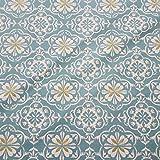Stoff Baumwollstoff Meterware Joao celadon petrol ecru Ornament