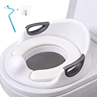 AiKiddo Toilet Seat Potty Toilet Seat for Toddler Potty Training Seats with Soft Cushion Handles for Round Oval Toilets Double Anti-Slip Design and Splash Guard for Boys and Girls(White)