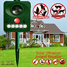 Sea pioneer Set of 2 Ultrasonic Solar energy Battery Operated Motion Activated Cat Repellent Can expel rats, dogs, foxes, crickets, cats, crickets, skunks, bats, rodents, etc (Enhanced Edition)