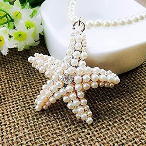 Beautiful Bead Bling Artificial Pearl Starfish Pendant Long Chain Stylish Necklace for Sweater by Beautiful Bead