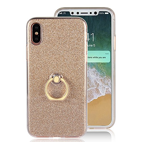"iPhone X Etui Coque, SHANGRUN 2 in 1 Scintillement Bling TPU Gel Silicone Etui Coque 360 Degres Rotating Métal Bague Ring Stand Holder Cover Coque avec Béquille Housse Étui pour iPhone X 5.8"" Noir Or"