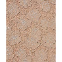 Papel pintado romántico diseño de flores EDEM 173-36 patrón floral de rosas en marrón claro cacao plata