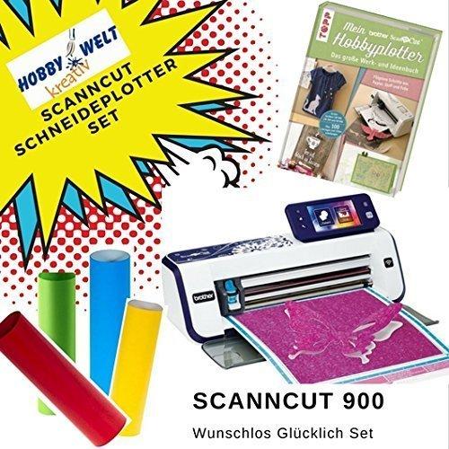 Großes Schneideplotter Set, Brother ScanNCut Hobbyplotter CM900, mit Anleitungsbuch und HW Flexfolien