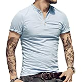 Alivebody Mens Long Sleeve Muscle Slim Fitted Cotton Henley T-Shirt with Buttons