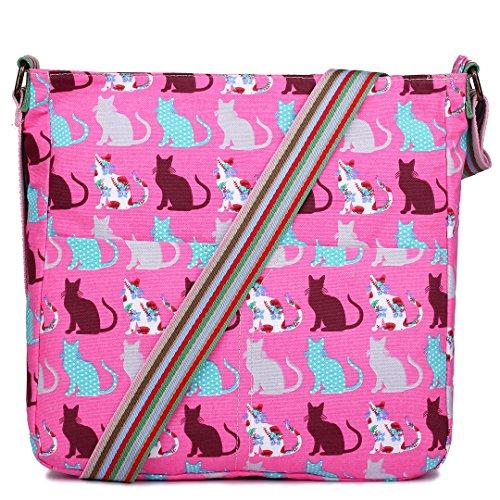 Leinwand Tasche Pink Messenger Gepunktet Damen Eule Blumen Katzen Body Lulu Elefant Schulranzen Bag Miss Schultertasche Tupfendruck Cross Schmetterling Cat Satchel EtF1Hqw
