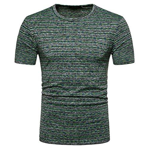 Angebote,Neue Deals,Herren T-Shirt Ronamick Kurzarm T-Shirt basic Einfarb00ig Runde Kragen Slim Fit (Grün, M)