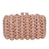 Bonjanvye Kiss Lock Studded Clutch with Crystal Rhinestone Evening Bag Rose Gold