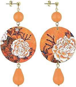 in Lebole Collezione The Circle DOR37 Fiore Bianco Orecchini da Donna in Ottone Pietra Arancio