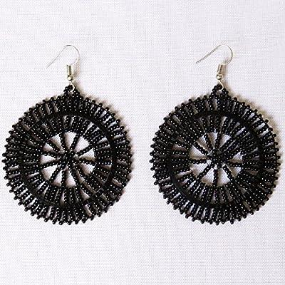 Boucles d'oreilles disque en perles Sud Africain Zoulou - Noir