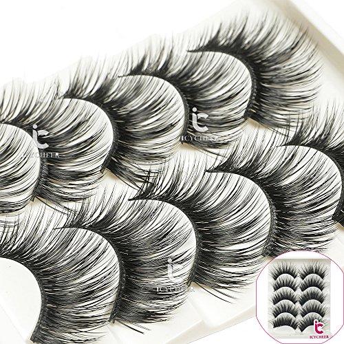 ICYCHEER 5 Paar Make-up Falsche Wimpern Verlängerung Handgemachte Wimpern Lange Dicke Wimpern