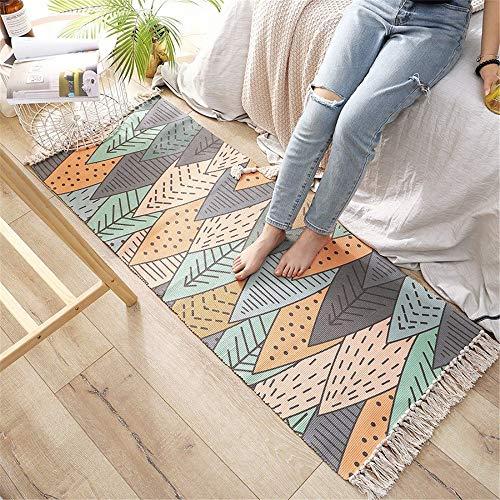 Mengjie Modern Weiche Teppich Handgewebte baumwollfarbene Blätter waschbar Ecke rutschfest wiederverwendbar für Wohnzimmer, Schlafzimmer 60 * 180CM - Blättern Teppich