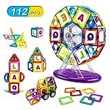 LBLA Magnetische Bausteine 112 Stück Set Magnetische Konstruktionsbausteine Magnetspielzeug DIY mit Räder und Lagerung Box Lernspielzeug für Kinder Geeignet für Kinder ab 3 Jahren