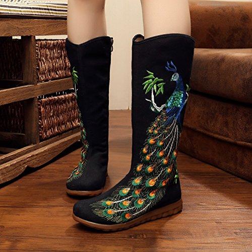 KHSKX-Nuova Vecchia Pechino Scarpe A Tubo Femminile In Stile Folk: Scarpe Stivali Impermeabili Sottile Tessuto Femminile 36 Black Forty-one
