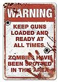 """Placa metálica para la pared con texto en inglés """"Warning Zombie"""" inspirada en la serie Walking Dead"""