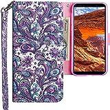 CLM-Tech Hülle kompatibel mit Samsung Galaxy A7 (2018), Tasche aus Kunstleder, Klapphülle mit Ständer und Kartenfächern, Blume Ornament lila blau