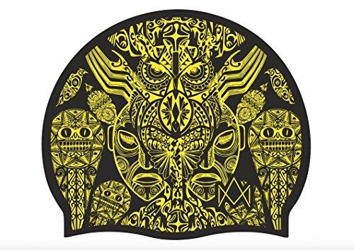Impera maori - cuffia piscina taglia unica 100% silicone (nero/giallo)