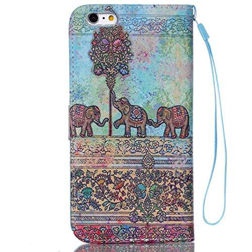 MOONCASE Étui pour iPhone 6 Plus / 6S Plus (5.5 inch) Printing Series Coque en Cuir Portefeuille Housse de Protection à rabat Case YB12 A03 #1117