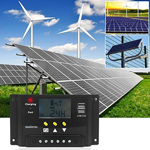 Signstek Solar Panel Regler Laderegler 12V / 24V 240W/480W 30A PWM LCD Display mit Dual USB Für Camper / Wohnwagen / Boot - 8