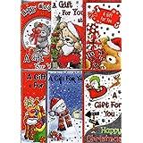 Pack of 6 Christmas Money Wallet Self-sealing Gift Envelopes Adult Children Designs - 6 Cute BGC 38321