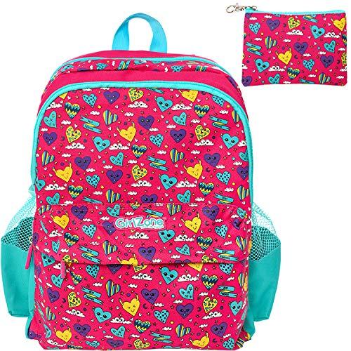 Girlzone: cartella per bambina 20 litri - zainetto scuola - zaino danza & palestra - borsa per ragazze - regalo bambina 4-11 + anni - rosa