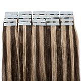 45cm Extension Capelli Veri Adesive con Meche 20 fasce 50g Remy Human Hair Tape in Riutilizzabile Seamless, #4/27 Marrone Cioccolato/Biondo Scuro