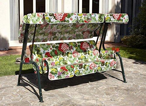 Ideapiu Balancelle de Jardin, Bascule avec Rembourrage revêtement en Tissu Fantaisie Fleurs, balancelle 4 Places, Bascule