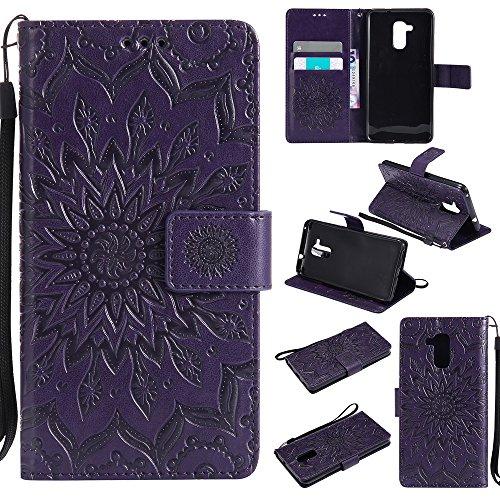 Lomogo Huawei GT3 Hülle Leder Blumenprägung, Schutzhülle Brieftasche mit Kartenfach Klappbar Magnetverschluss Stoßfest Kratzfest Handyhülle Case für Huawei GT3 / Honor 5C - KATU22611 Violett