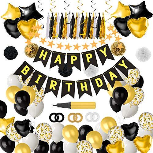 TUPARKA Geburtstag Party Dekorationen in Schwarz und Gold, Happy Birthday Banner Girlande Folie und Latexballons mit Ballonfüller für 18. 20. 30. 40. 50. 60. 70. Geburtstagsparty