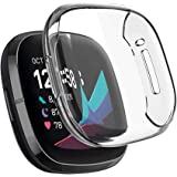 S-Color Protective Case Compatible with Smartwatch Fitbit Sense/Fitbit Versa 3 Screen Protector,All Around Ultra Thin Plated
