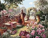 Aolala Paysage Royal Garden Flowers Accueil Decoracion No Frame Peinture Photos par Numéros Travail à la Main Dessiner sur Toile Salon Wall Art, 50X65cm