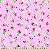 Plüsch Addict Baumwolle Stoff–Rosen auf Rosa–M