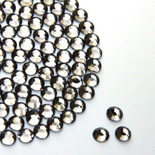 Diamante Me strass Hotfix Diamant Noir 500 par paquet taille 2/3/4 mm, 250 x 5 mm et 150 x 6 mm, noir, 6 mm