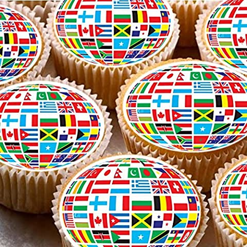 24 Cake Toppers 4cm On Icing cupcake images - world flags round Olympics world cup