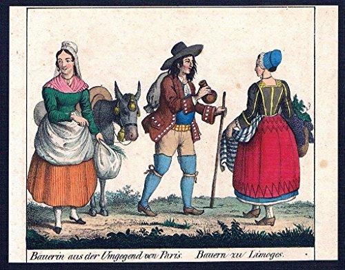 Tracht Paris (Paris Limoges costumes Trachten Lithographie litho)