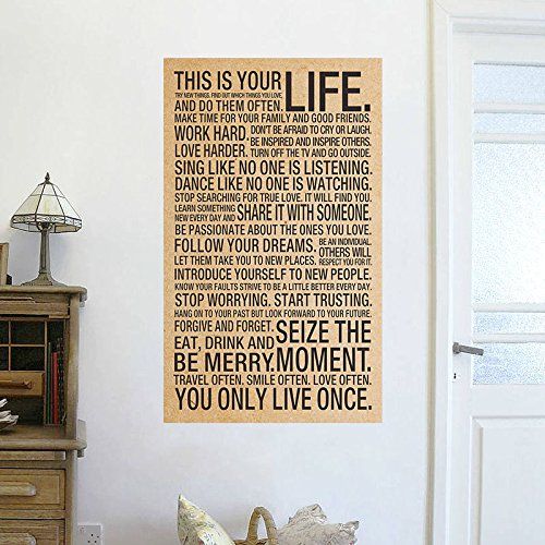 wandaufkleber schlafzimmer Wall Sticker Quotes This Is Your Life Sayings Motto Quote Silk Poster 17X28Inch Art Wall Decor Large Wall Stickers