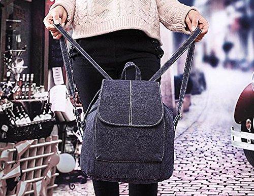 Da.Wa Schule Buch Tasche für Mädchen, Frauen Rucksack Nette Segeltuch Rucksack Schule Taschen Jugendliche,Schwarz Schwarz