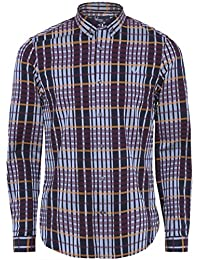Fred Perry Hombres Twill Woven Check Shirt Marina De Guerra