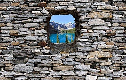 Dalinda Vliestapete Fototapete in 3D-Optik Moraine Lake Kanada Designtapete graue Steinmauer Tapete VT313