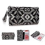 Kroo Handy, der Wristlet Ledertasche mit Kreditkarte Halter passt für Karbonn Sparkle V/Titan S99 mehrfarbig schwarz