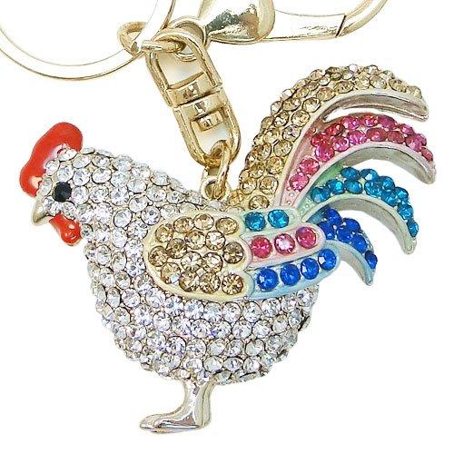 Ever Faith Gold-Tone Gallo portachiavi di cristallo austriaca multicolore (Art Deco Di Cristallo)