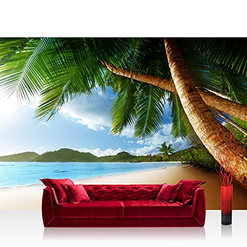 004-licht (Vlies Fototapete 400x280 cm PREMIUM PLUS Wand Foto Tapete Wand Bild Vliestapete - LONELY BEACH - Strand Meer Palmen Beach 3D Ozean Palme - no. 004)